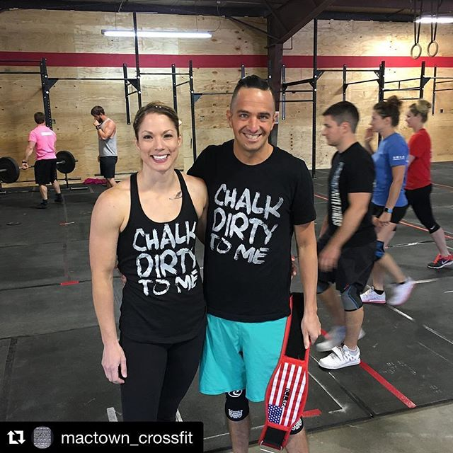 Look who's rocking those original #ChalkDirtyToMe tee and tank!  #Repost @mactown_crossfit (@get_repost) ・・・ @climatecrossfit from Omaha is ready for event 1. #mactowncrossfit #RTB2017 #RaiseTheBarForHaiti