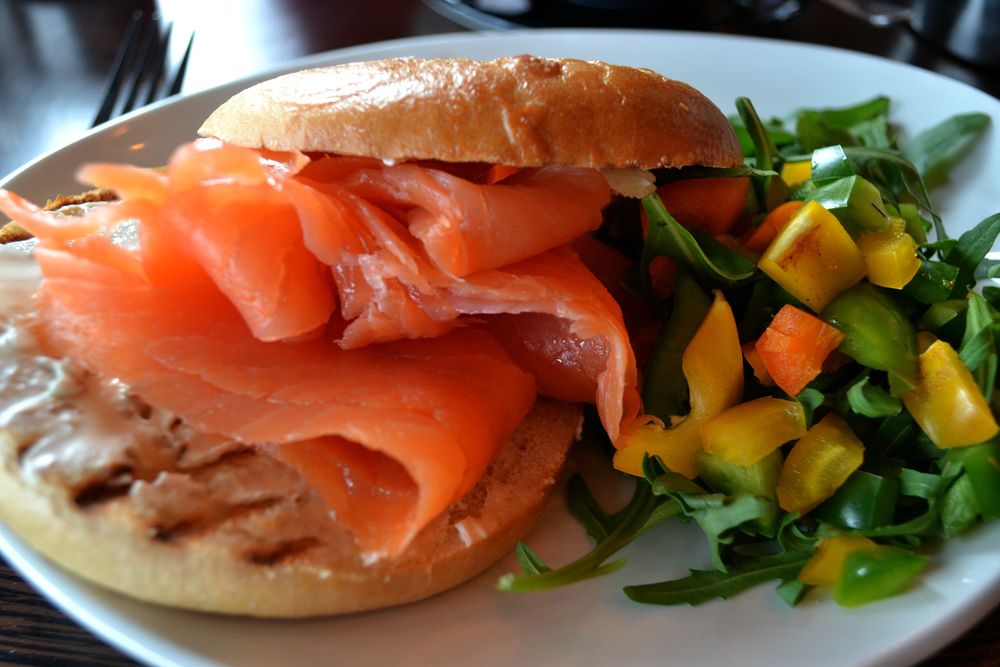 Tribeca Edinburgh smoked salmon bagel