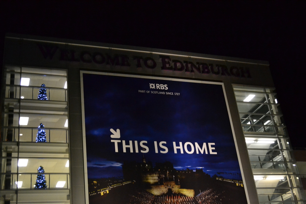 Edinburgh airport welcome home