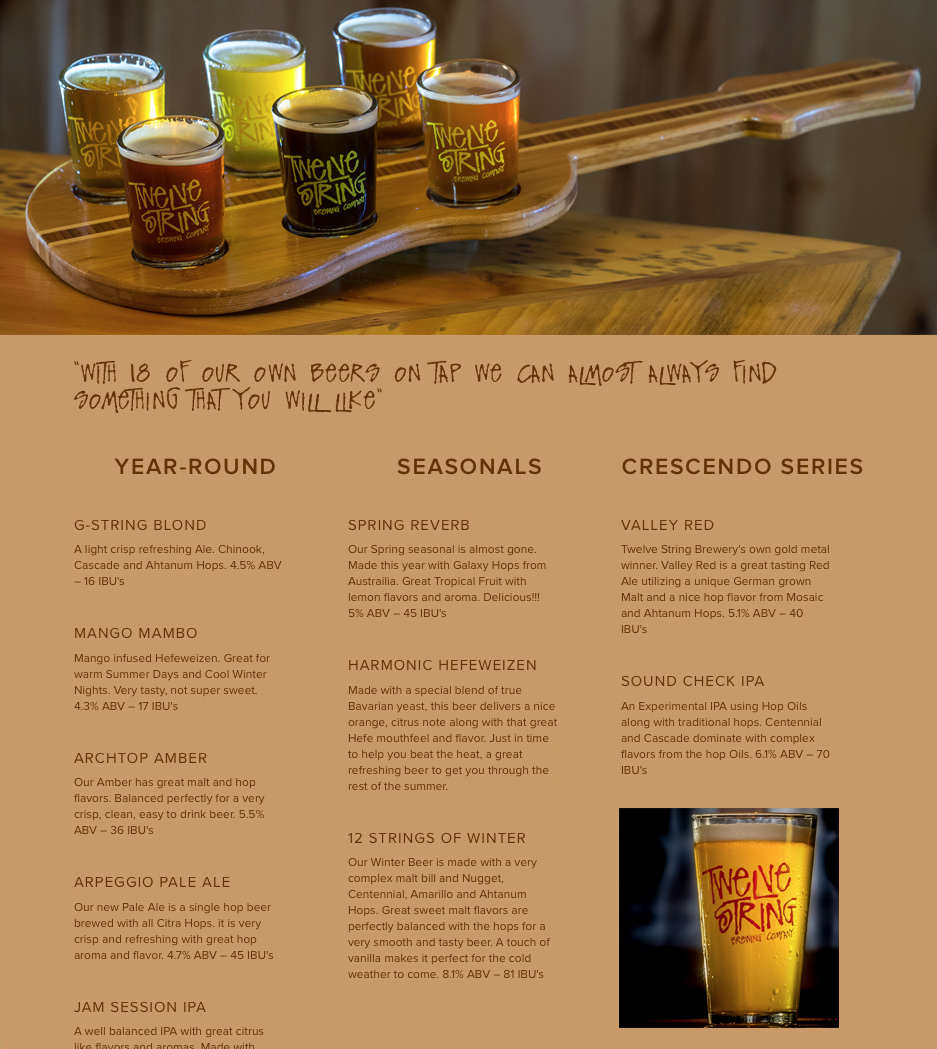 Twelve String Brewing Company Beer Menu