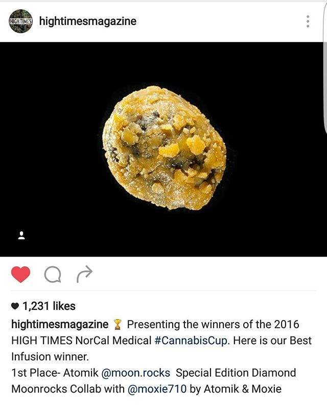 Thanks to everyone for coming out over the weekend to the NorCal Cannabis Cup. And a special thanks to @moxie710 and @atomik420 for the colab Atomik Diamond Moonrocks entry that won 1st Place Best Infused Cannabis. Still the one and only @hightimesmagazine Infused Cannabis Champions. #poweredbyweedmaps  @hightimesmagazine @weedmaps  #backtoback #moxie #champions #poweredbymoxie #atomik #atomik420 #atomikmoonrocks #moonrock  #poweredbythc #Hightimes #cannabiscup #award #winning #moonrocks #infusedcannabis #sclabs #theclear #weedmaps #legalize #cannabis #420 #marijuana #mmj #nugporn #strongaf #takeyourhightothenextlevel #rewardyourself  #⚛