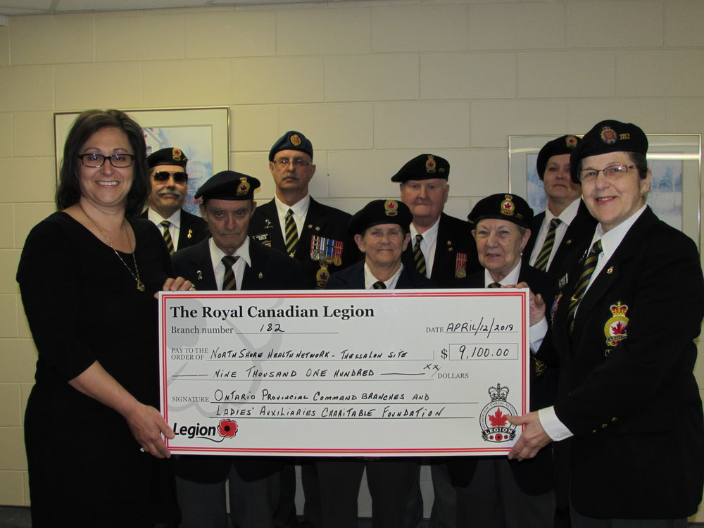 (Left to right) Donna Orlando NSHN Foundation Chair, Gérard Marion, Ed Ray, David Grasley, Jean Rosenberg, Norm Nash, Thelma Nash, Anita Mitchell, and Francine Grasley Legion Branch 182 Charitable Foundation Chairperson