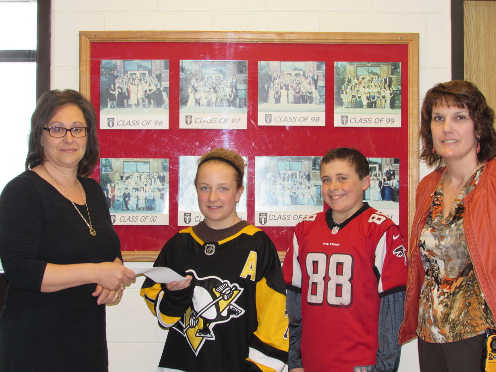 (Left to right) Donna Orlando NSHN Foundation Chair, Darcy Cooke Students' Council President, Esaiah Kehoe Students' Council Vice-President, Jana Tetreault Thessalon Public School Principal