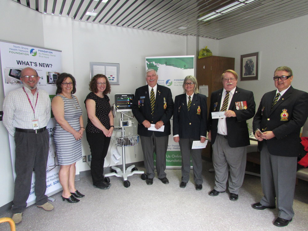 (Left to right) Ken Gibson, Director & Donna Orlando, Chair – NSHN Foundation, Jaimee Elmore RN, Emergency/Acute Manager – NSHN Blind River Site, Neil Duguay – Bruce Mines Legion Branch #211, Gloria Spencer & Gerry Green, President – Blind River Legion Branch #189, John Shannon, Secretary – Richards Landing Legion Branch #374