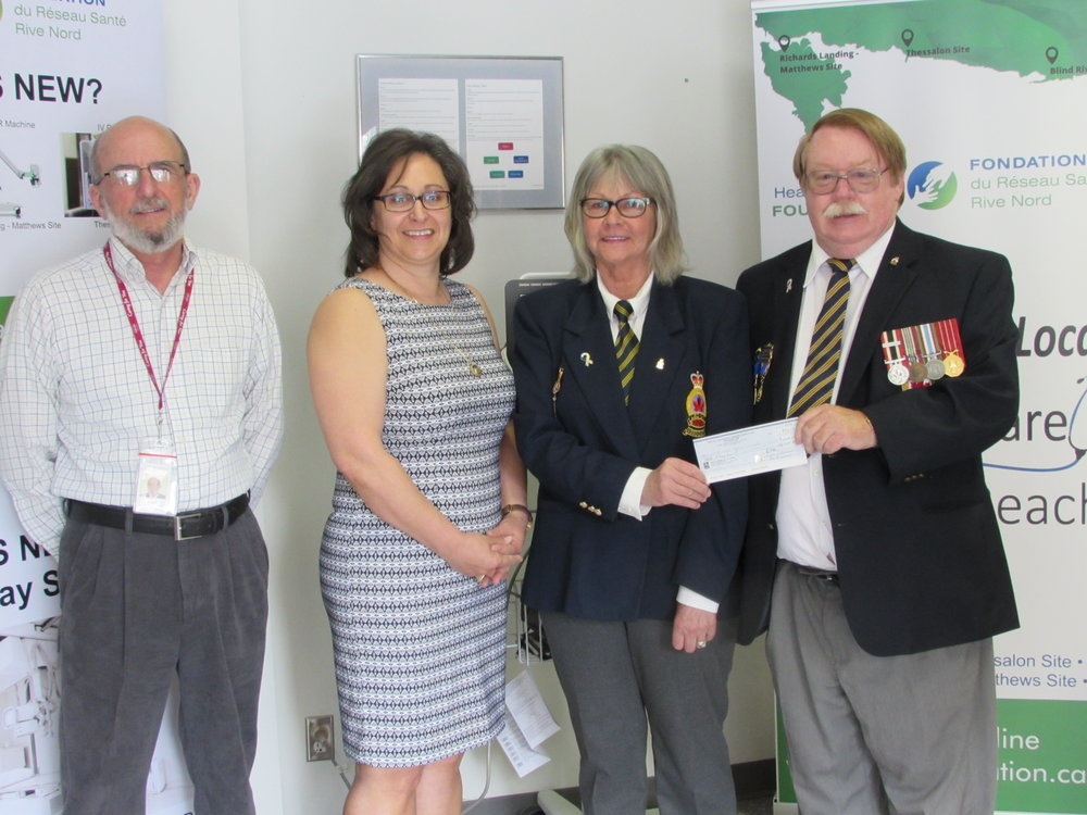 Ken Gibson, Director & Donna Orlando, Chair – NSHN Foundation receive a donation of $1,000 from Gloria Spencer and Gerry Green, President – Blind River Legion Branch #189