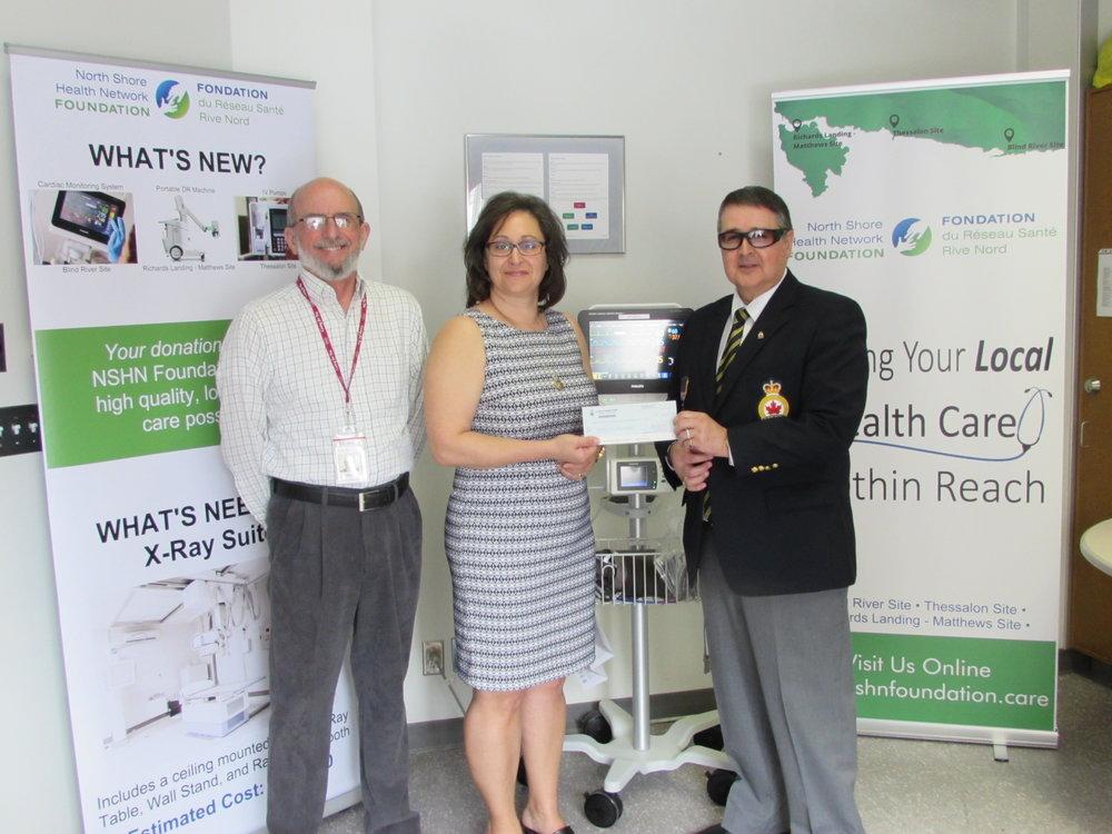 Ken Gibson, Director & Donna Orlando, Chair – NSHN Foundation receive a donation of $1,000 from  J ohn Shannon, Secretary – Richards Landing Legion Branch # 374