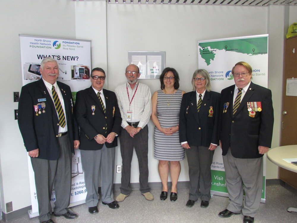 (Left to right) Neil Duguay – Bruce Mines Legion Branch #211, John Shannon, Secretary - Richards Landing Branch #374, Ken Gibson, Director – NSHN Foundation, Donna Orlando, Chair – NSHN Foundation, Gloria Spencer – Blind River Legion Branch #189, and Gerry Green, President – Blind River Legion Branch #189