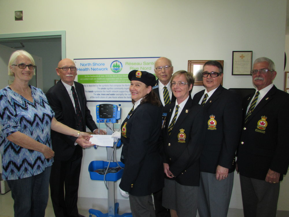 Presentation of The Royal Canadian Legion Ontario Command Branches and Ladies' Auxiliaries Charitable Foundation cheque of $8,625.46 for the blood pressure monitors   (Left to right) Sue Barlow – Vice Chair NSHN Foundation, Doug Clute – Director NSHN Foundation, Anne Allaire – Branch President, Hugh Hamilton – Charitable Foundation Chairperson, Gonny Frech – Treasurer, John Shannon – Secretary, and Steve Frech – District H Commander