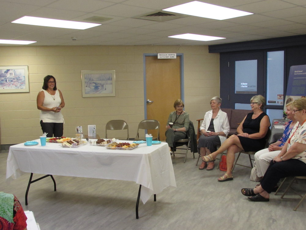 Donna Orlando (NSHN Foundation Chair) expresses gratitude towards donors at the NSHN Thessalon Site on Saturday, June 23, 2018  (Left to right) Donna Orlando (Chair), Ann Marie Gallagher, Pat Fluke, Bev Robinson, Joyce King, Barb Mundell