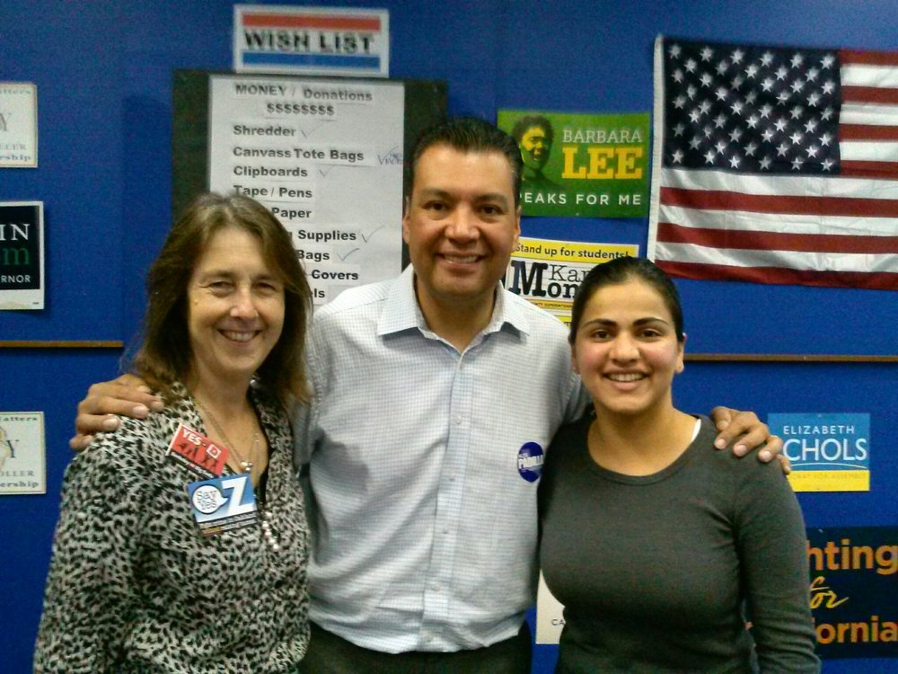 Secretary of State Alex Padilla, Senator Nancy Skinner and Aisha