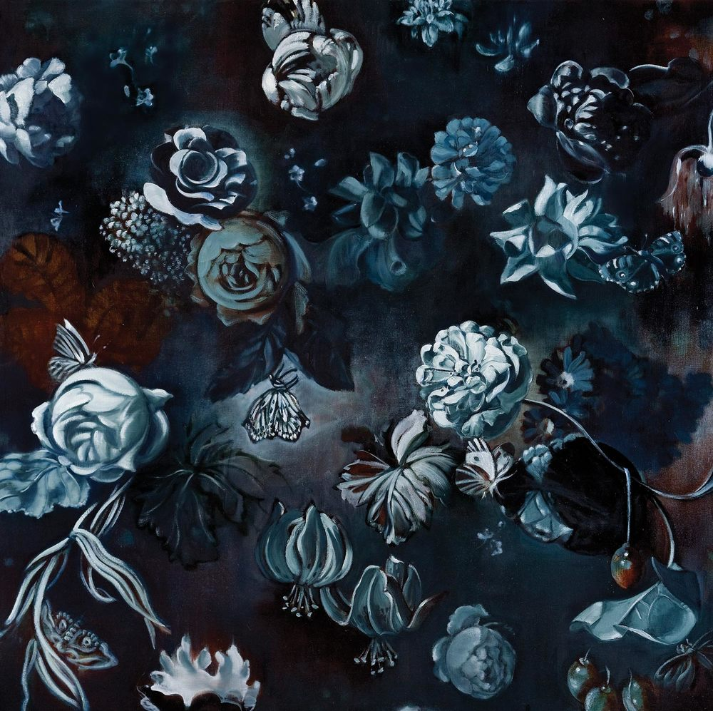 "MIDNIGHT FLOWERS I  oil on canvas 45 x 45"" 2011"