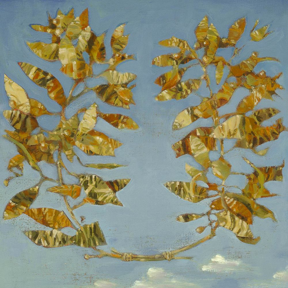 "WREATH ROME  oil on canvas on panel  15 x 15""  2013"