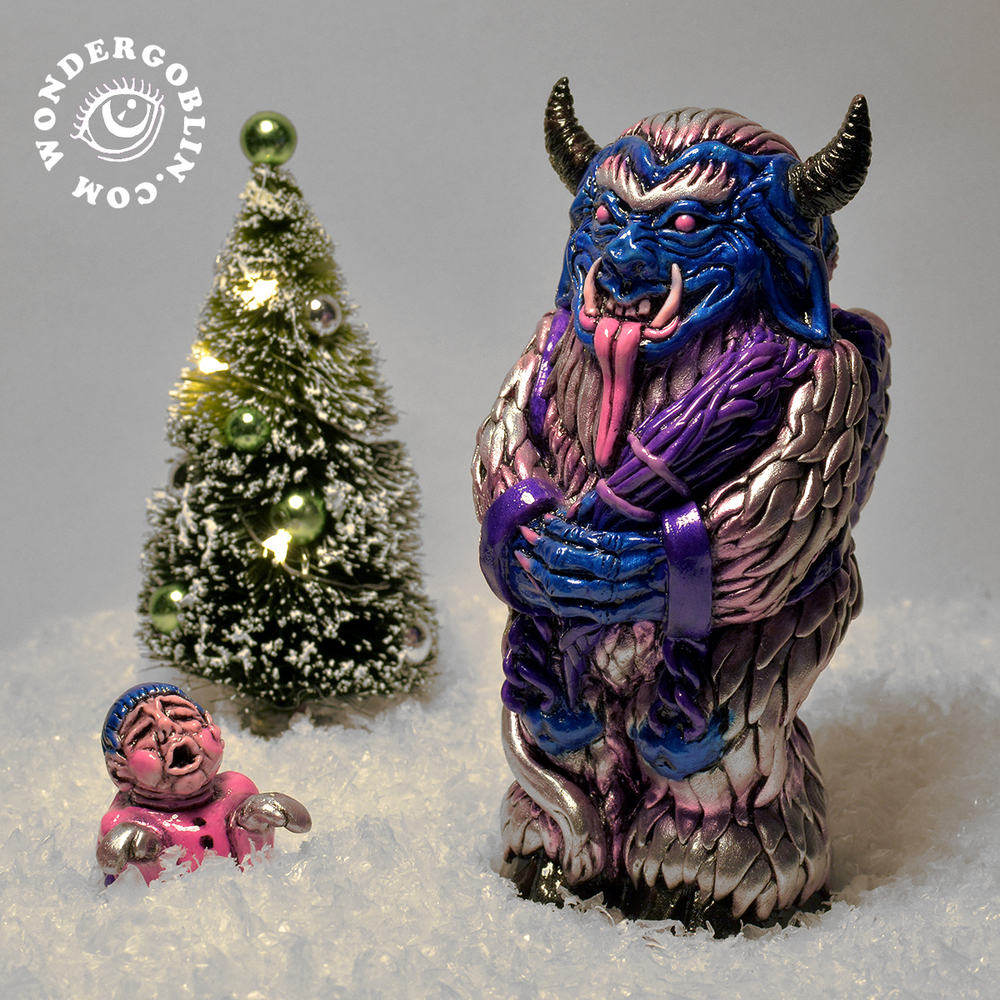 "Are you still searching for the perfect Yule, Xmas, or Krampusnacht present? Look no further, for the Krampus has come to town, and he doesn't care whether you've been naughty or nice! Cast in solid resin, and each one meticulously hand painted and airbrushed, the Krampus stands at 6 inches tall and comes with a removable brat. Included with every order is a ""Merry Krampus""    greeting card and a handful of Xmas candy. Limited edition of 35."