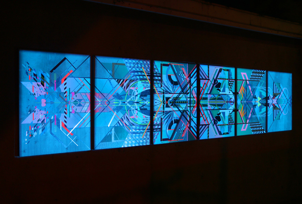 night view of   ACCUMULATION AT 12TH & MARION: PAINTINGS 1-6 (version 2, for Outside Gallery)    mixed media on 6 panels with projection, 32 3/4 x 153 x 2 1/2 inches total (23 3/4 x 32 3/4 inches each), 2015