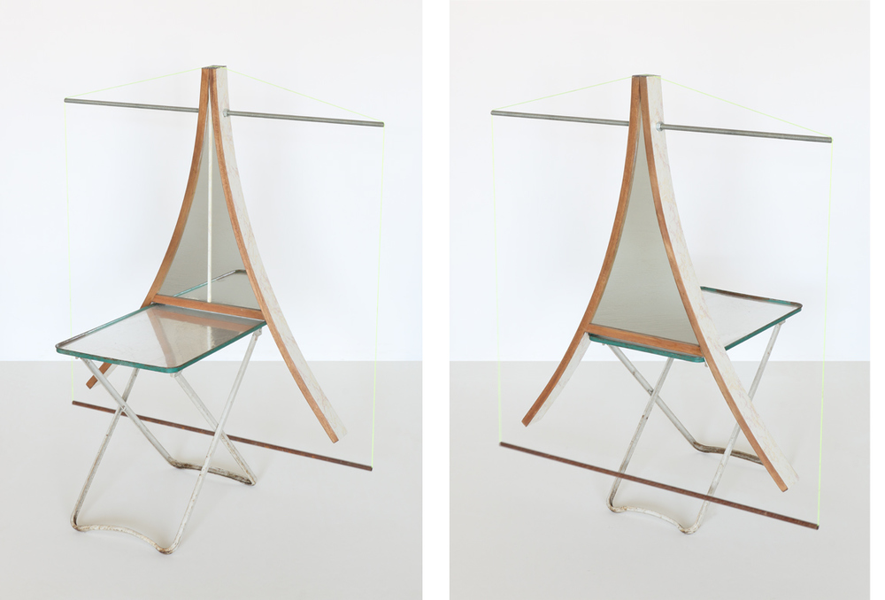 rocking chair + tray table (reflection pool)    found objects, mirror, mirrored Mylar, string, metal rods, contact paper | 43 x 36 x 20 inches | 2015