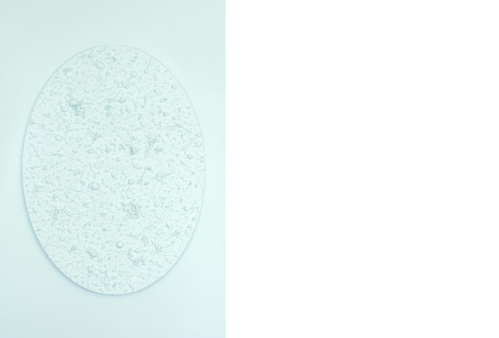 Refuse Aggregate in Spring Valley Hue (large oval)    mixed media on panel, 52 x 38 x 3.25 inches, 2018
