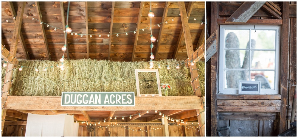 Seacoast NH Wedding Photographer | Barn Wedding In NH | Hay Loft Decor | Wedding Couples Hashtag| #DugganWed2015 | Amy Brown Photography