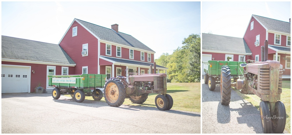 Seacoast NH Wedding Photographer |  Farm Tractor for wedding entrance | NH Farm Wedding | Amy Brown Photography