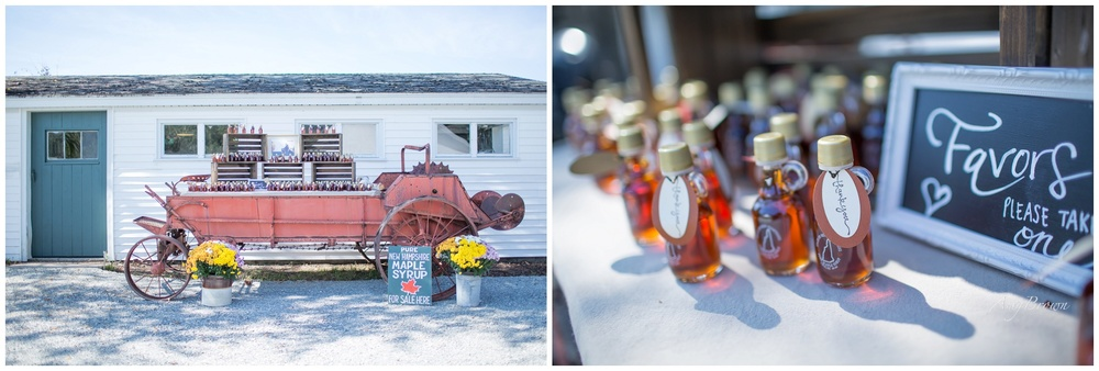Seacoast NH Wedding Photographer |  Maple Syrup Wedding Favors | Sugar Shack in NH | Farm Wedding | Amy Brown Photography