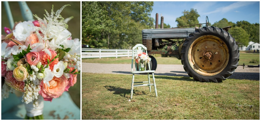Seacoast NH Wedding Photographer |  F As In Flowers Bridal Bouquet | Wedding Flowers | Farm tractor | Amy Brown Photography