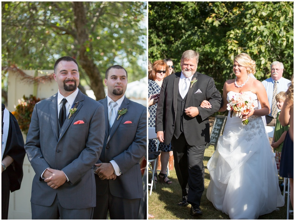 Seacoast NH Wedding Photographer |  | NH Apple orchard Wedding Ceremony | Amy Brown Photographygroom and brides father