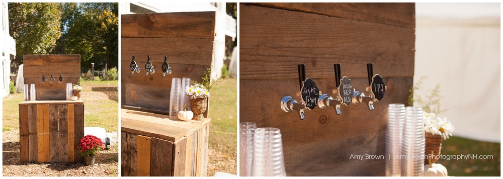 Rye Nh Wedding Photographer | Rye Farm Wedding | Rustic Wood Tap | DIY Beer Tap | Amy Brown Photography