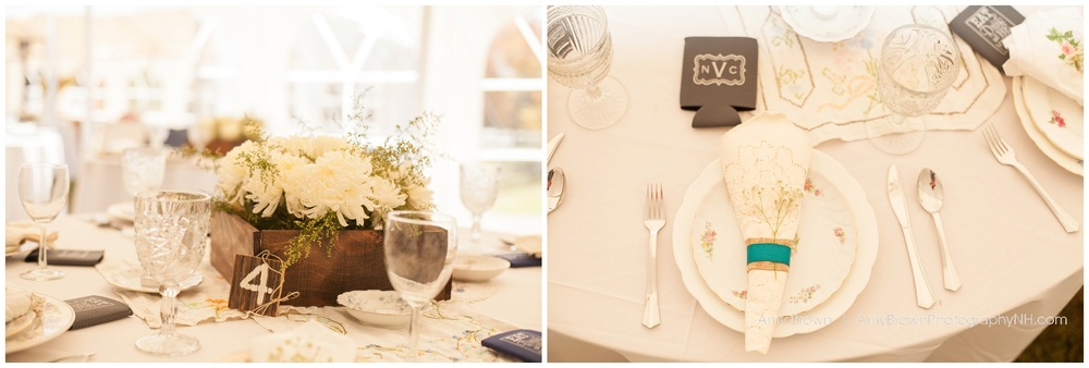 Rye Nh Wedding Photographer | Rye Farm Wedding | White wedding reception | Amy Brown Photography