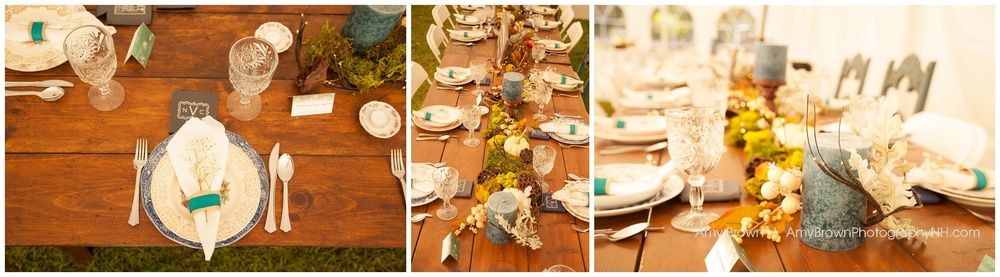 Rye Nh Wedding Photographer | Rye Farm Wedding | Bridal Party Wooden Head Table | Amy Brown Photography