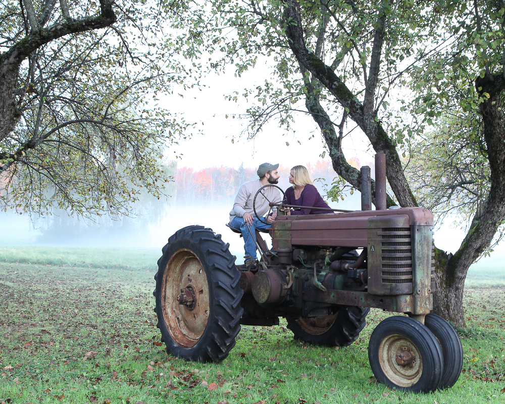 New Hampshire Farm Wedding | Engagement Photography | Farm Tractor Wedding Prop | NH Fall Scenery | Amy Brown Photography