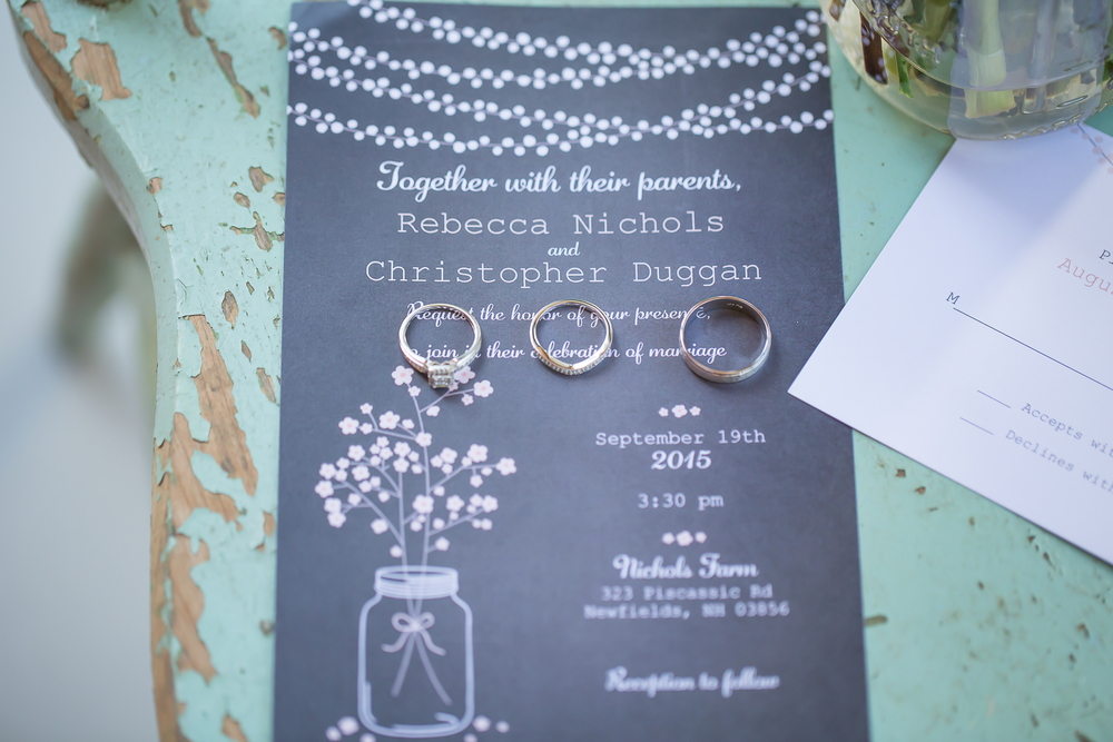 NH Wedding Photographer | Country Wedding Invitation | Mason Jar Wedding Prop | Amy Brown Photography