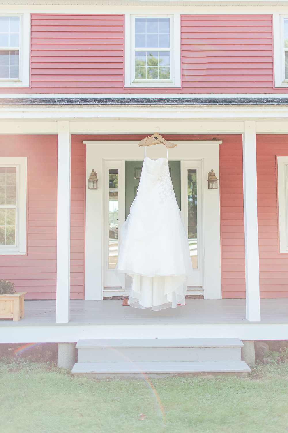 NH Farm Wedding | New Hampshire Farm House | Davids Bridal Wedding Gown | Farm Wedding | Amy Brown Photography
