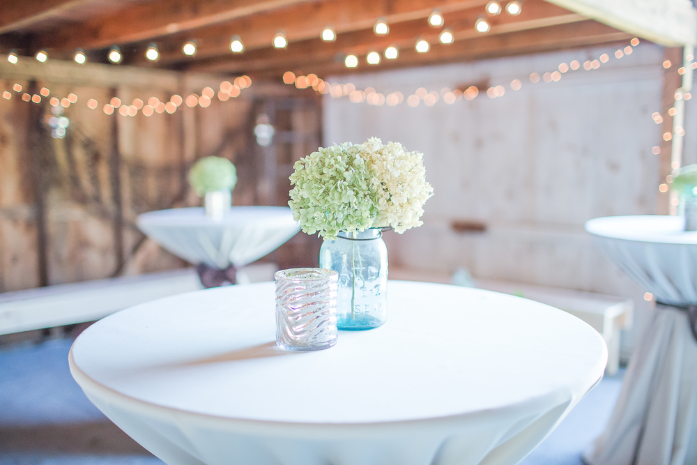 Barn Wedding | Cocktail Hour | Mason Jar Wedding Decor | Hydranga Wedding Flowers | Amy Brown Photography
