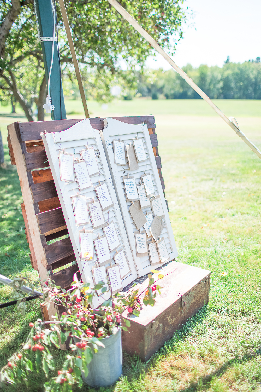Guest seating chart | Window Shutter Prop | NH Farm Wedding | Amy Brown Photography