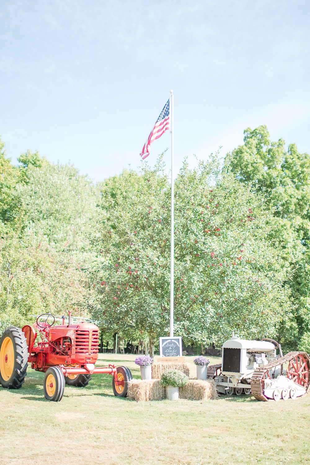 Farm Tractor Wedding Prop | American Flag | Wedding Farm Decor | Amy Brown Photography