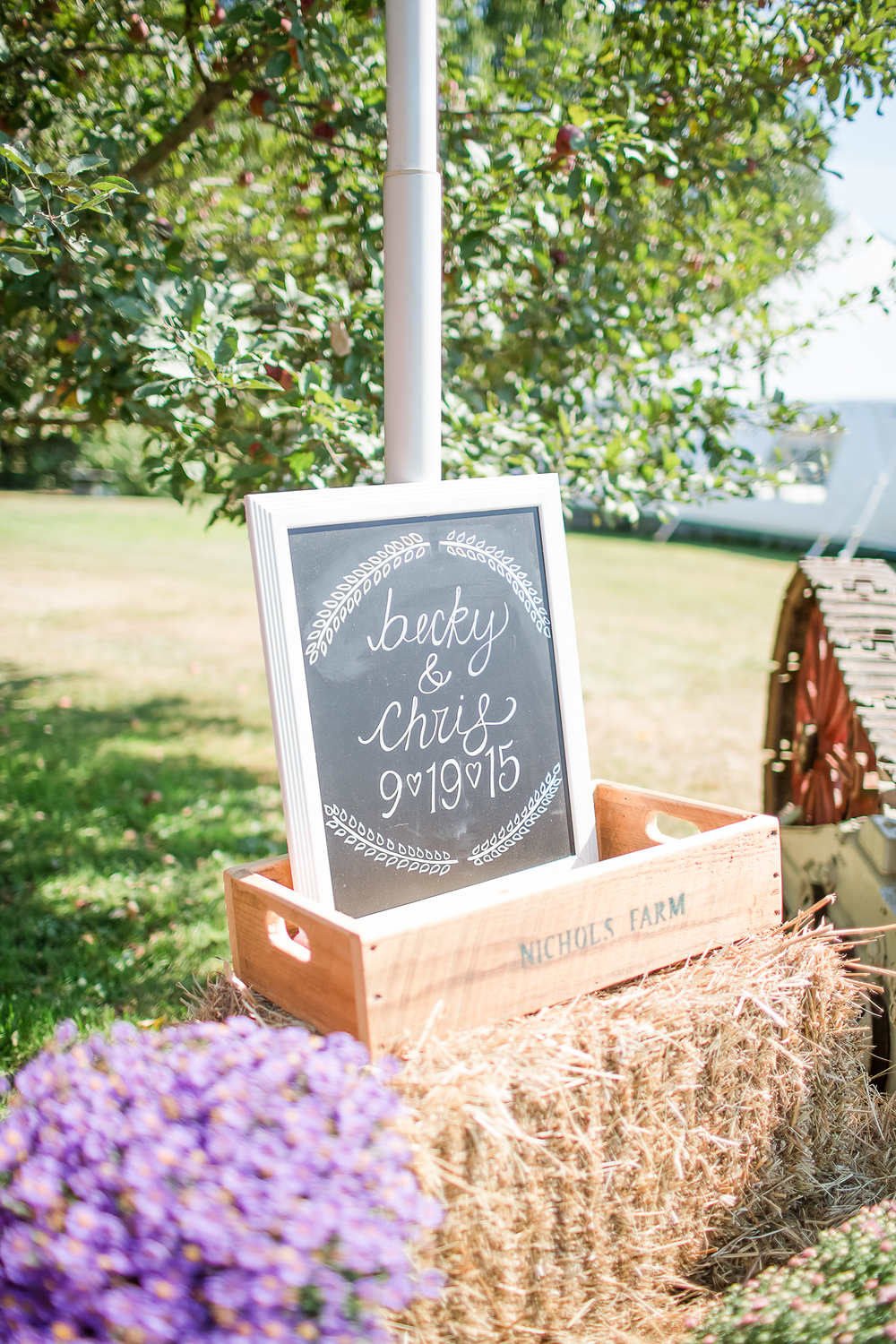 Farm Tractor Wedding Prop | American Flag | Wedding Farm Decor | Chalk Board Wedding Sign | Amy Brown Photography