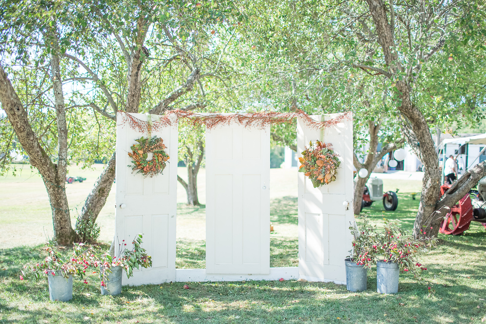 Coastal New Hampshire Wedding Photographer | Vintage Door Wedding Decor | Wedding Door Altar |Amy Brown Photography