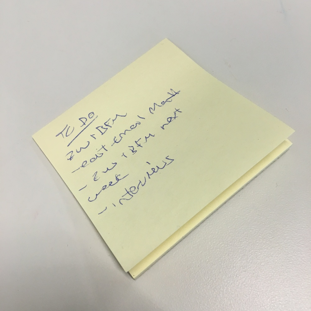 A to-do list that only I can understand.