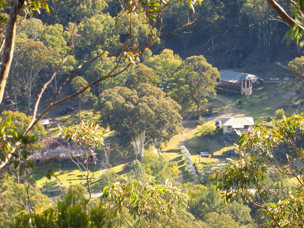 This photo shows our  W ollemi and  Wolgan  cabins as seen from atop ' Mystery Mountain '.