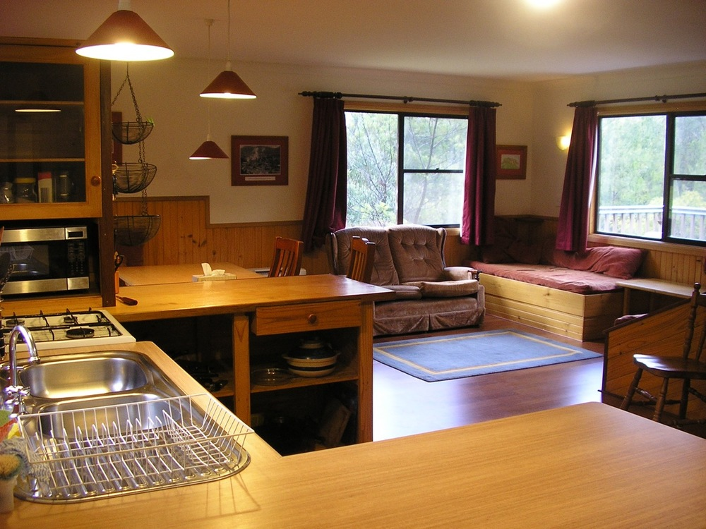 The living area; kitchen on the left.