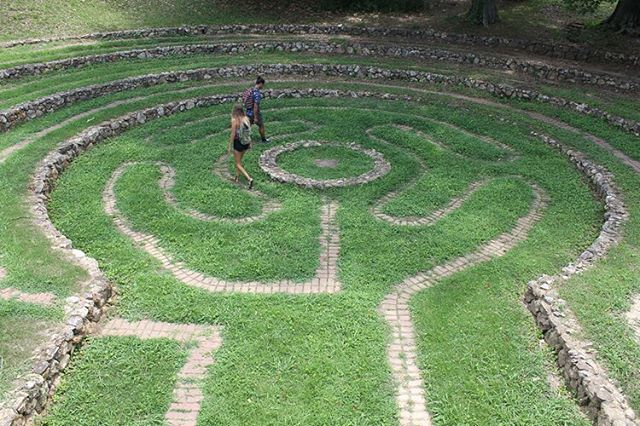 "Labyrinth in Rome, Georgia👌🏽 ""Unlike a maze, a labyrinth has only one path and the intention is not to confuse, but rather to help one focus. The path into the center is a search for your true self as the stresses and concerns of the world slip away from your consciousness."""