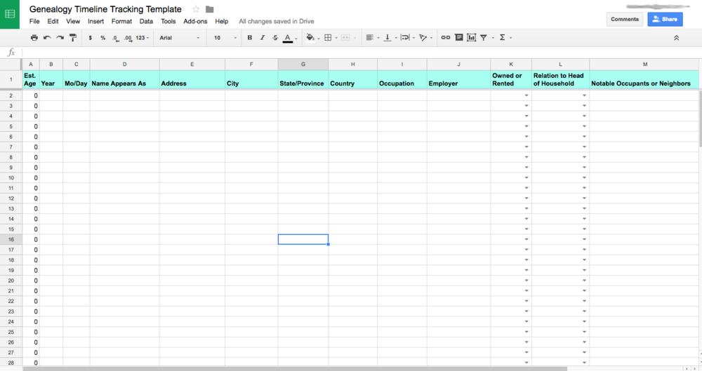 Customizable Ancestor Timeline Google Sheets