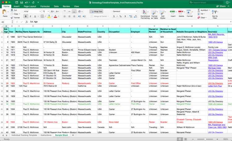 Customizable Ancestor TImeline Template Excel The Ancestry Techie - Timeline template excel