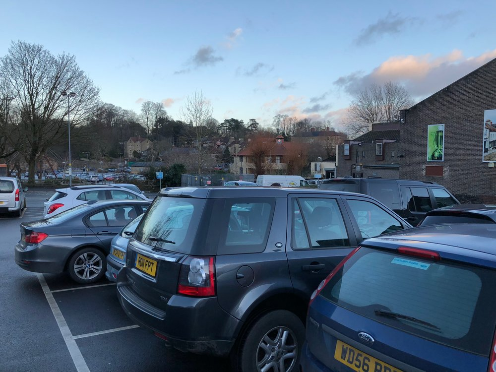 """At the """"car park"""" in Frome by the shopping center. My coworker thought it was funny that I thought this deserved a picture."""