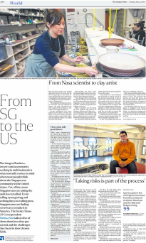 """From SG to the US: From NASA scientist to clay artist"" + ""Taking risks is part of the process to Playwright Damon Chua"" - The Straits Times, July 12, 2015"