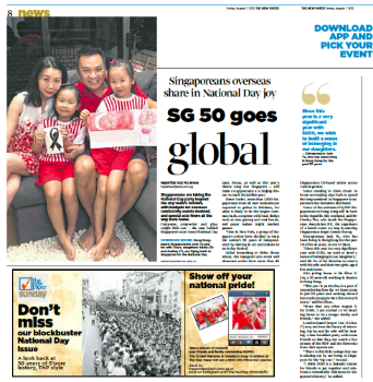 """Singaporeans Overseas Share in National Day Joy""     - Hoe Pei Shan, The New Paper, Aug 7, 2015"