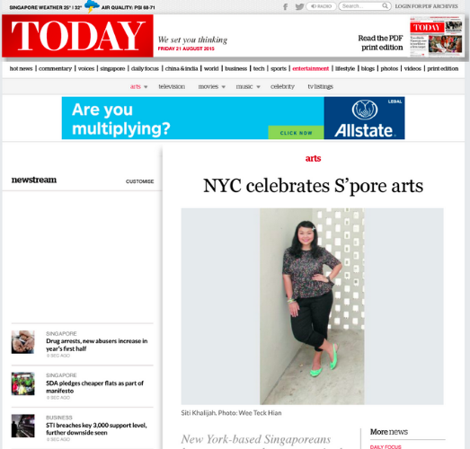 """NYC Celebrates S'pore Arts"" -- TODAY, August 21, 2015"
