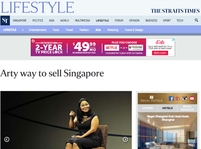 """Arty Way to Sell Singapore"" -- Corrie Tan, The Straits Times Life!, August 25, 2015"
