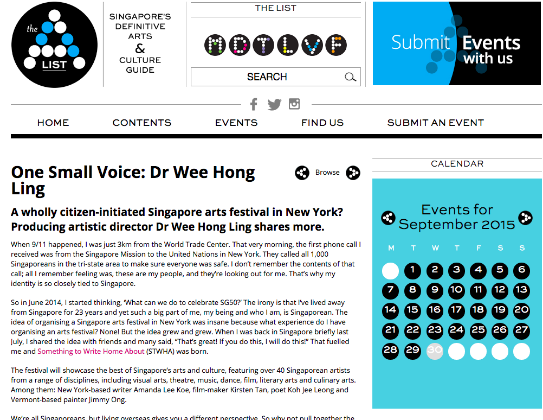 """One Small Voice: Dr Wee Hong Ling""    -- Pamela Ho, The A List, September 1, 2015"