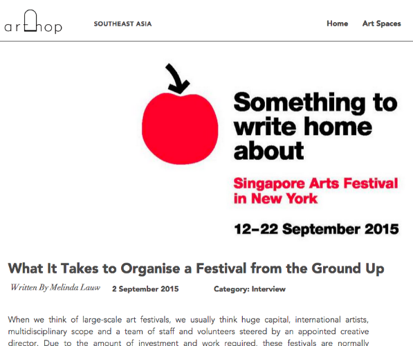 """What It Takes to Organise a Festival from the Ground Up""    -- Melinda Lauw, Arthop, September 2, 2015"