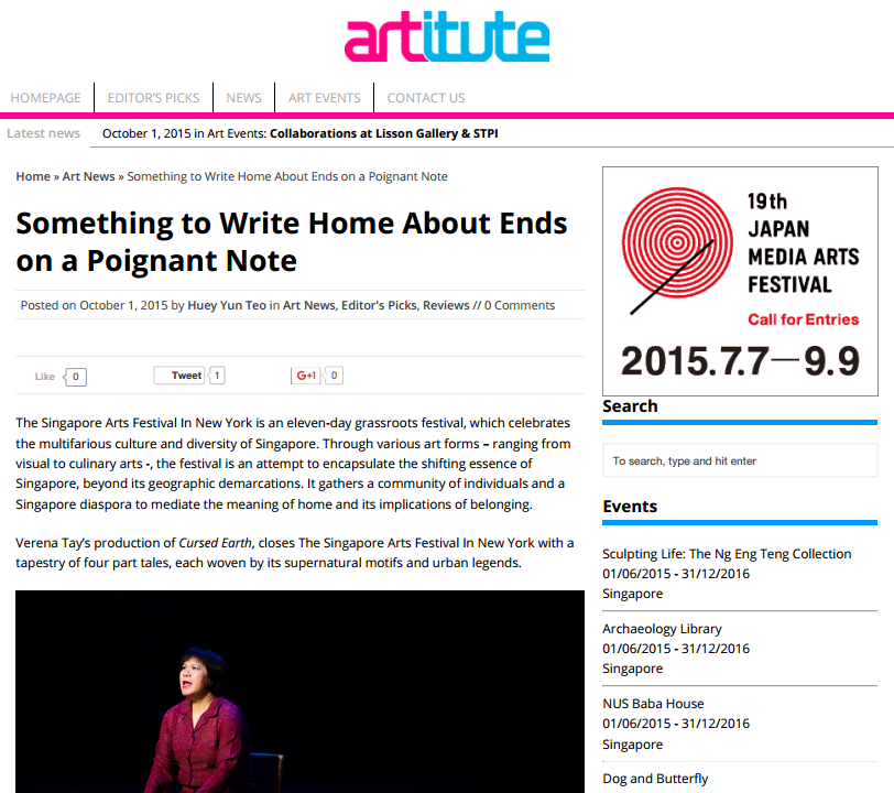 """Something to Write Home About Ends on a Poignant Note""     -- Huey Yun Teo, Artitute, October 1, 2015"